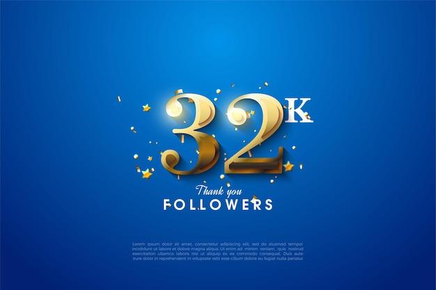 32k follower hintergrund mit goldenen zahlen auf blauem hintergrund