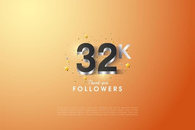 32k follower hintergrund mit versilberten zahlen