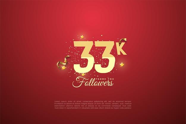 33.000 follower mit abgestuften zahlen