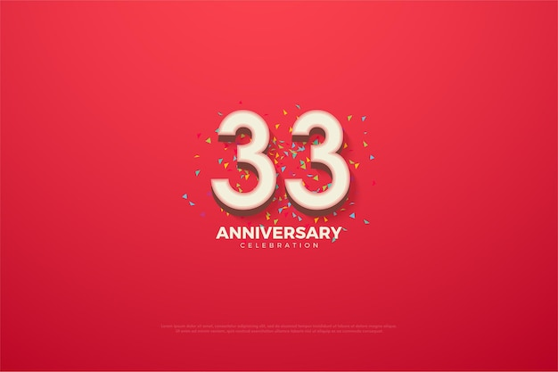 33-jähriges jubiläum mit 3d-zahlen