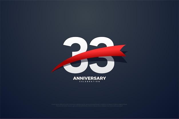 33-jähriges jubiläum mit flachem design