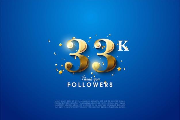 33k follower mit goldenen zahlen auf blauem hintergrund