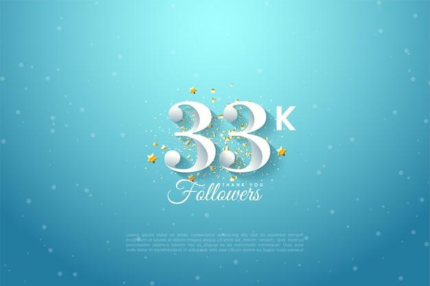 33k follower mit zahlenillustration auf blauem himmelshintergrund