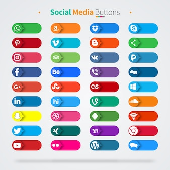 36 bunte social media icons