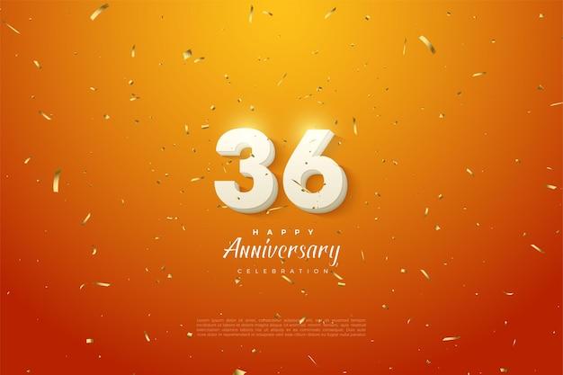 36-jähriges jubiläum mit leuchtenden zahlen