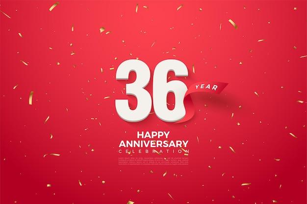 36-jähriges jubiläum mit zahlen und rotem band