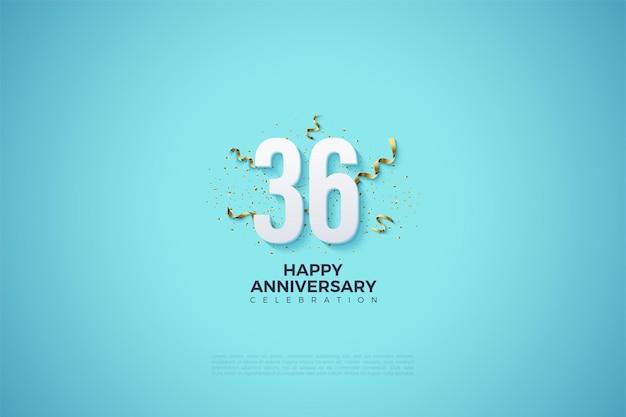 36-jähriges jubiläum mit zahlen und schleifendekoration