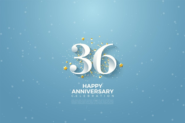 36. jahrestag mit zahlen auf blauem himmelshintergrund