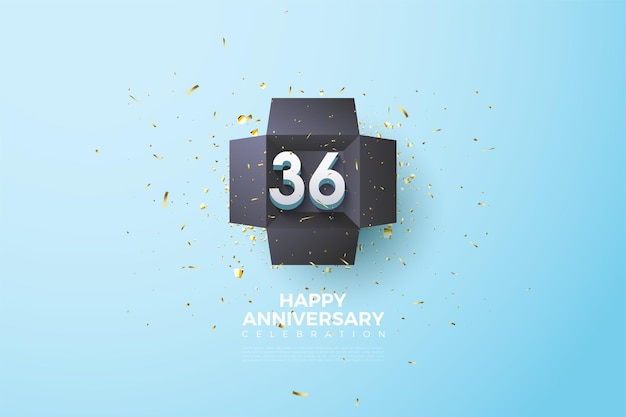 36. jubiläum mit zahlen in einer geschenkbox