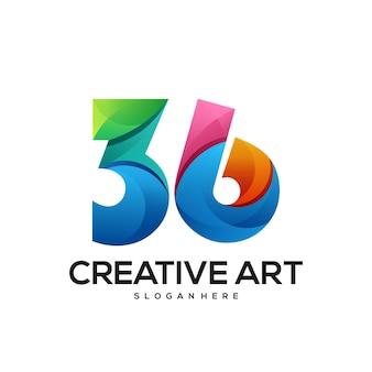36 zahlen logo farbverlauf bunt