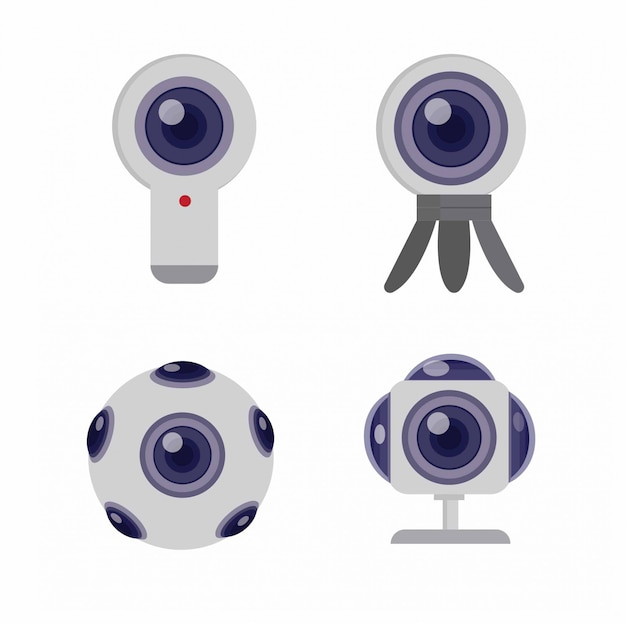 360 kamera icon set flache illustration