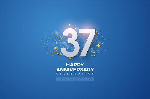37. jahrestag mit 3d zahlen auf blauem hintergrund