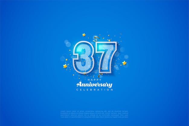 37. jahrestag mit zwei numerischen umrissen