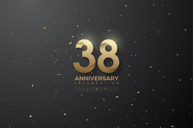 38-jähriges jubiläum mit flachen designnummern