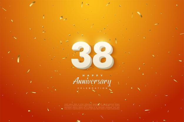 38-jähriges jubiläum mit leuchtenden zahlen
