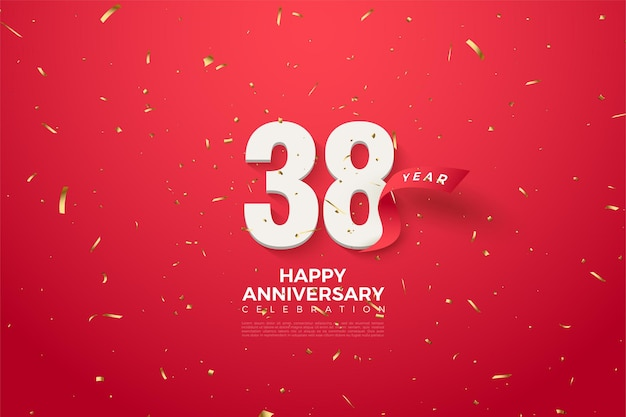 38-jähriges jubiläum mit rotem band dahinter