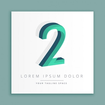 3d abstrakt logo mit der nummer 2