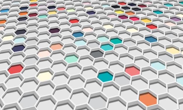 3d abstrakte bunte sechseckige mit schatten. neue zusammenstellung für ihr markenbuch.