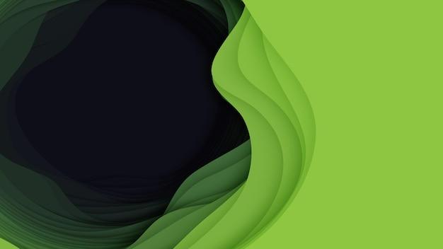 3d abstrakter hintergrund mit papierschnittform. bunte grüne schnitzkunst.