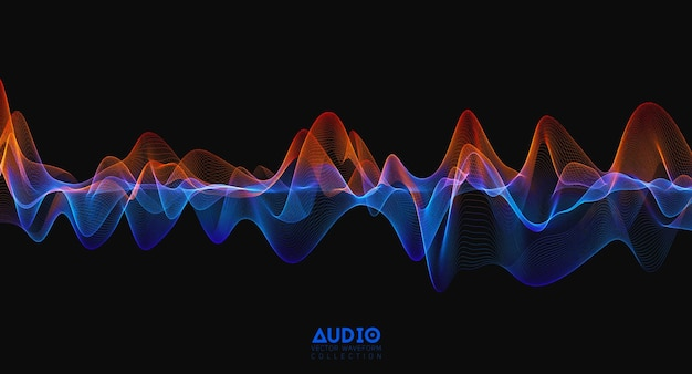 3d-audio-schallwelle. bunte musikpulsschwingung. leuchtendes impulsmuster.