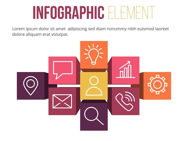 3d-balken mit infografik-element mit symbolinformationen