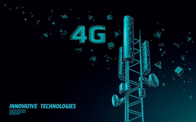 3d-basisstationsempfänger. telekommunikationsturm 4g polygonales design globaler verbindungsinformationssender.