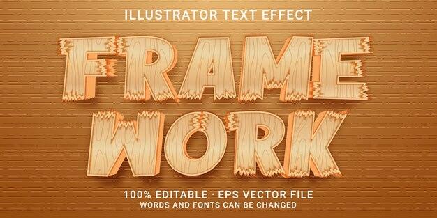 3d-bearbeitbarer texteffekt - frame work-stil