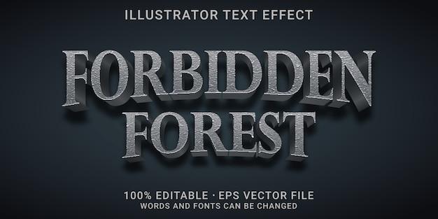 3d-bearbeitbarer texteffekt - verbotener waldstil