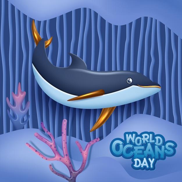 3d-bildkonzept des weltmeertages. natürlichen umgebung. illustrationworld ozeane tag banner mit niedlichen delphin. illustration