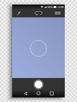 3d-bildschirm des smartphones mit kameraschnittstelle.