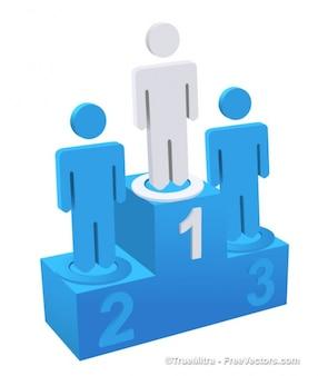 3d blau podium