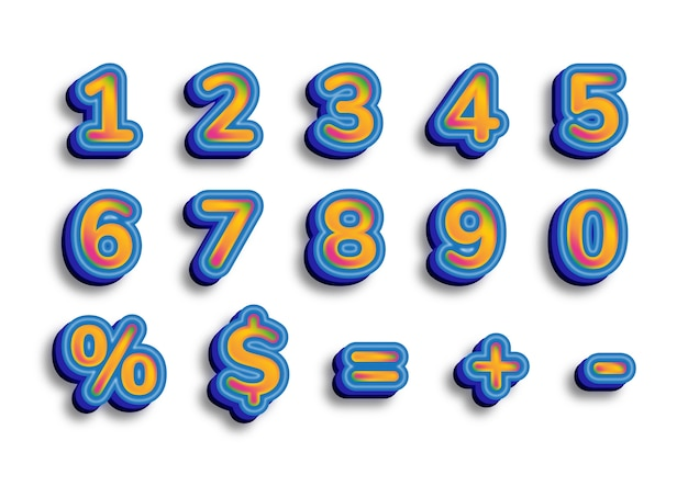 3d blue fashionable caligraphy numbers set