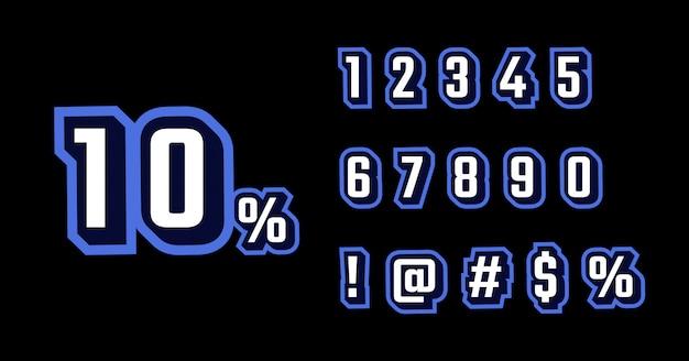 3d blue retro font number set
