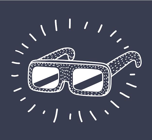 3d-brille auf dunklem hintergrund