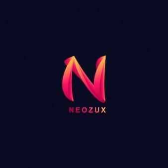 3d-buchstabe n logo moderne gradienten stil