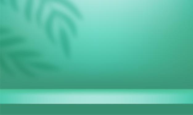 3d-bühne mit schattenüberlagerung von zweigen, blättern, pflanzen. mintgrünes leeres studiozimmer