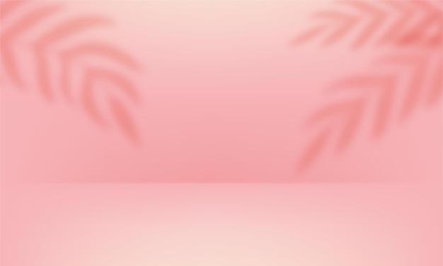 3d-bühne mit schattenüberlagerung von zweigen, blättern, pflanzen. weiches rosa leeres studiozimmer
