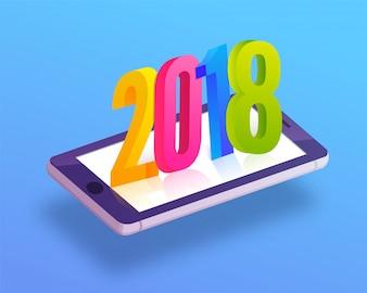 3D bunten Text auf einem mobilen Bildschirm auf skyblue Hintergrund.