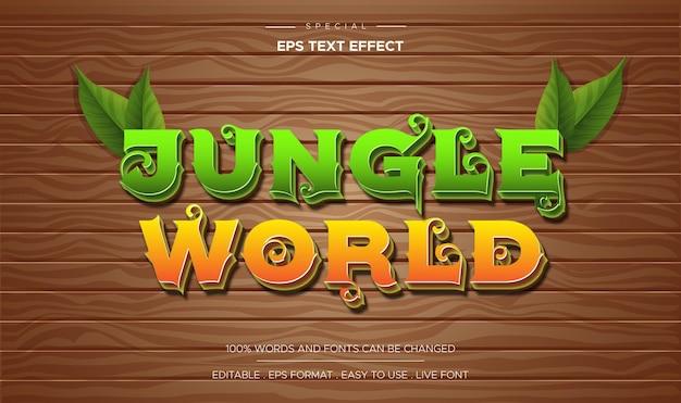 3d-cartoon-spielstil holztisch hintergrund mit bearbeitbarem texteffekt der waldwelt