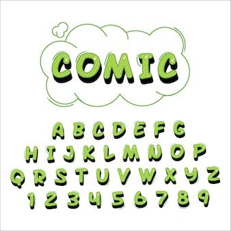 3d comic alphabet schriftzug