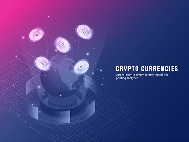 3d-darstellung des globalen bitcoins zwischen aufstrebenden strahlen auf blauem und rosafarbenem hintergrund für das konzept der kryptowährungen.