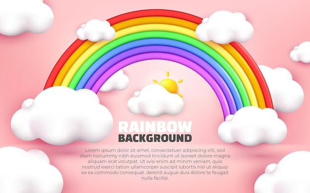 3d-darstellung des regenbogendesigns rosa pastellhintergrundkarikaturart cartoon