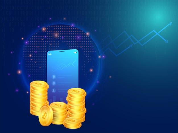 3d-darstellung von smartphone-krypto-statistiken mit goldenem bitcoin-stack auf blauem hintergrund der digitalen verbindungslinien.