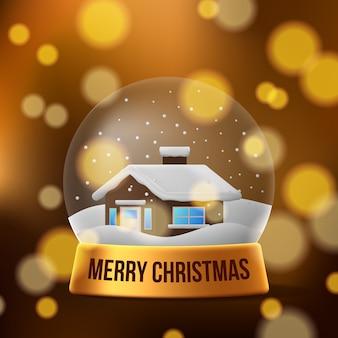 3d die weihnachtsheim-schneekugeldekoration mit goldener farbe und bokeh für festliche
