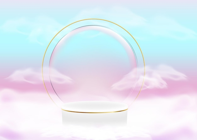 3d-display abstrakte formen pastelle farbverläufe luxus-podium für ihr design mit weißen wolken
