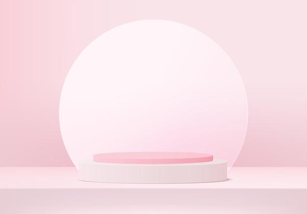 3d-display produkt abstrakte minimale szene mit geometrischer podiumsplattform. zylinderhintergrund 3d-rendering mit podium. stehen für kosmetische produkte. bühnenshow auf sockel 3d rosa studio