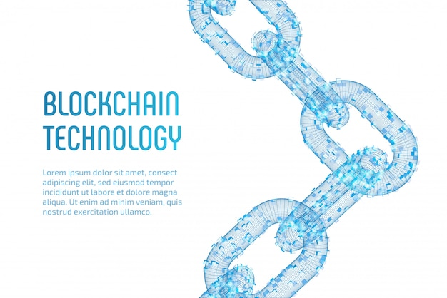 3d-drahtgitterkette mit digitalen blöcken. blockchain-konzept.