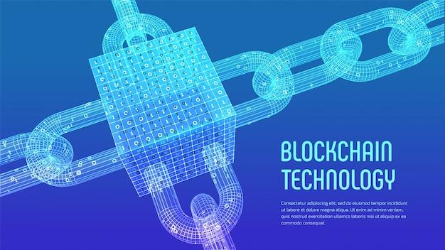 3d-drahtgitterkette und isometrischer digitaler block mit digitalem code