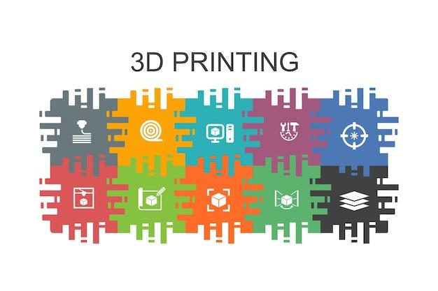3d-druck-cartoon-vorlage mit flachen elementen. enthält symbole wie 3d-drucker, filament, prototyping, modellvorbereitung