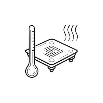 3d-drucker beheiztes bett hand gezeichnete umriss-doodle-symbol. bettplatte für 3d-drucker, beheiztes betttemperaturkonzept